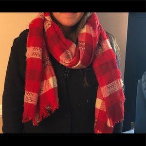 Zara red checkered scarf